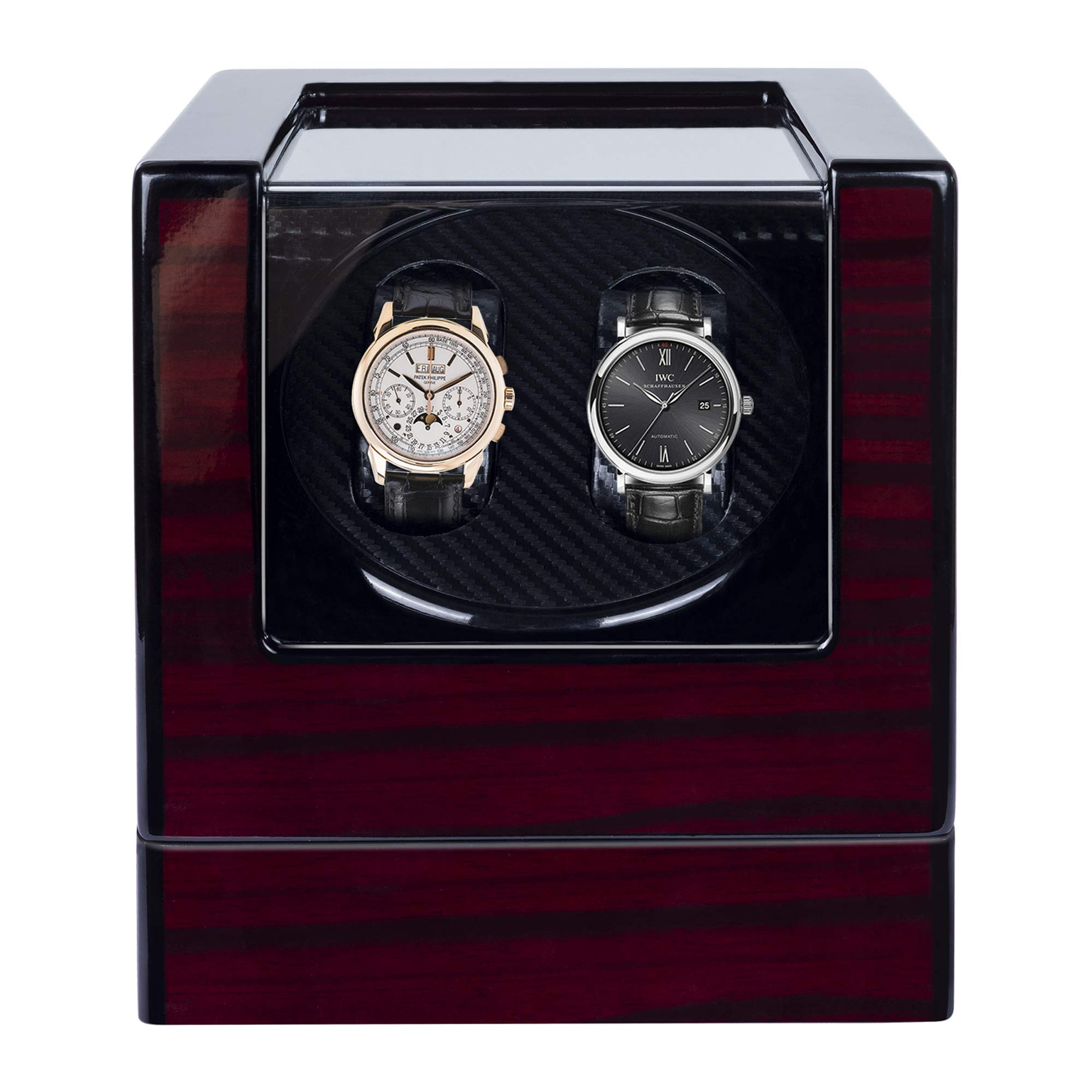 Kalawen Automatic Double Watch Winder Box for All Automatic Mechanical Watches with Quiet Motor AC Adapter or Battery Powered for 2 Men's or Ladies', Black by Kalawen