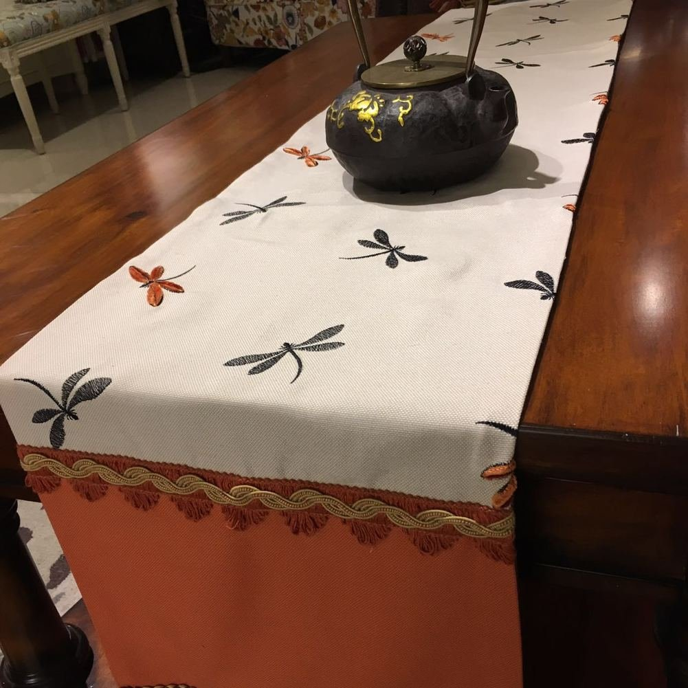 Table Flag Luxury American Style Dragonfly Embroidered Luxurious Love Cloth Coffee Table Flag Table Runner TV Cabinet Flag-A 33x220cm(13x87inch) by TINDLSHHDPPM (Image #3)