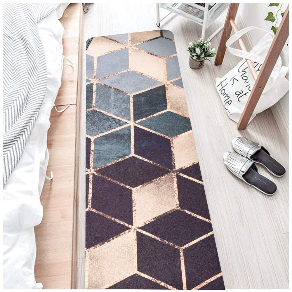 2 Piece Non-slip Anti-Fatigue Kitchen Mat - (17.7'' x 29.5''+17.7'' x 59'') Soft Non Skid Throw Rugs Runner Carpet for Kitchen Hallway Entryway and Bedroom - Oil Resistant Long PVC Kitchen F (Dream Light) by Desiderare (Image #2)