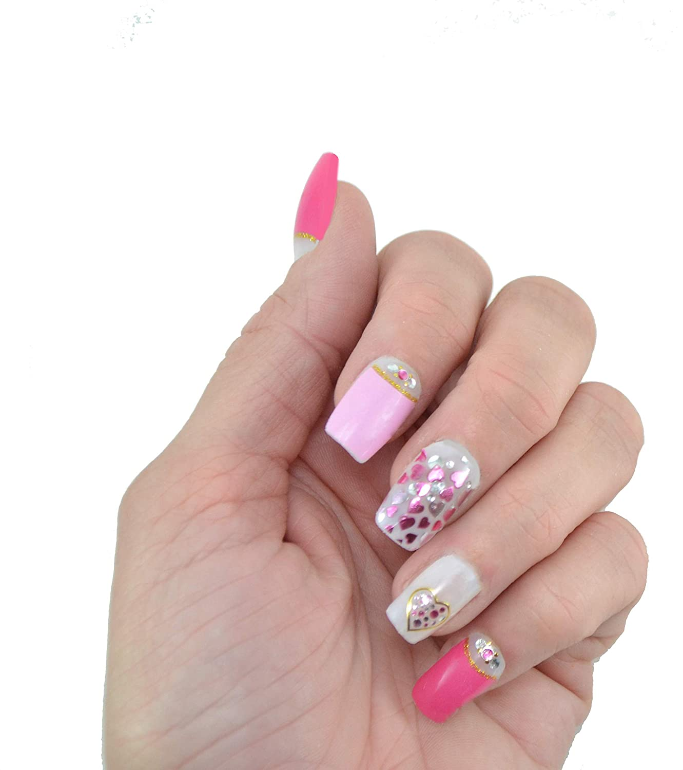Amazon.com: Nail Wraps, Beautiful Nail Art, Pink with Silvery Hearts ...