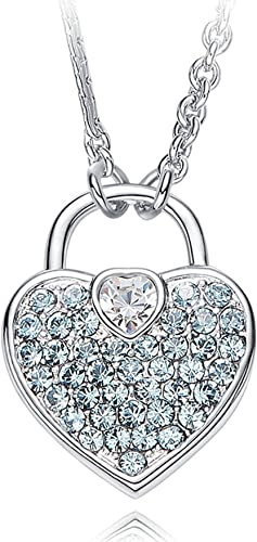 Epinki Shiny Crystal Women Girls Heart Shape Necklace Pendant Chain Crystal