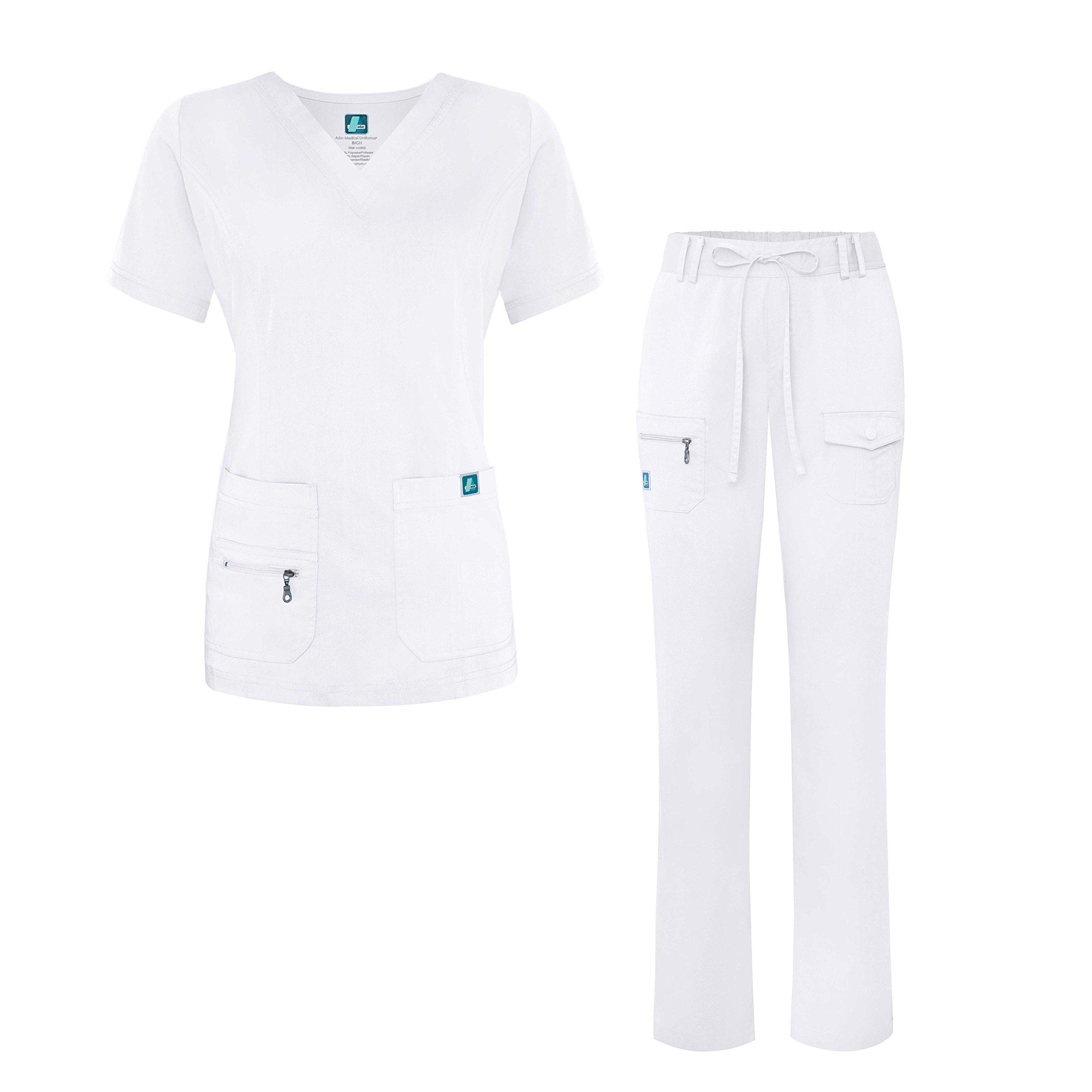 Adar Indulgence Jr. Fit Women's Scrub Set - Enhanced V-Neck Top/Multi Pocket Pants - 4400 - White - XL