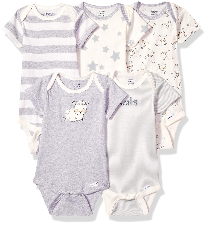b93c996bfff2d Amazon.com  Gerber Baby 5-Pack Organic Short-Sleeve Onesies Bodysuit   Clothing