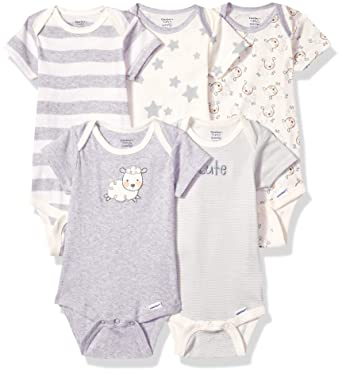 0be52dba4 Gerber Baby 5-Pack Organic Short-Sleeve Onesies Bodysuit, Sheep, Preemie