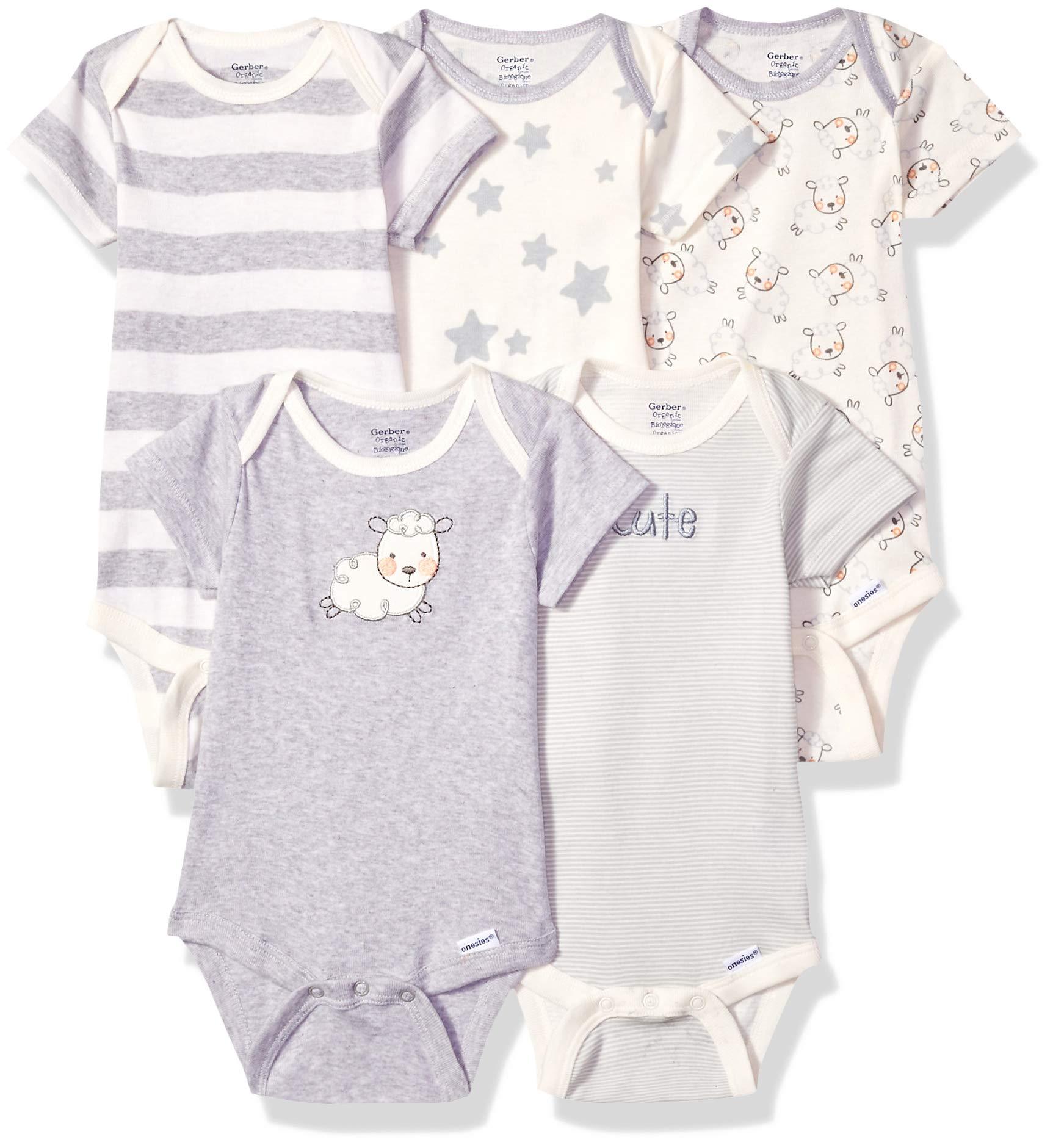 5-pack or 15 Multi Size Organic Short Sleeve Onesies Bodysuits