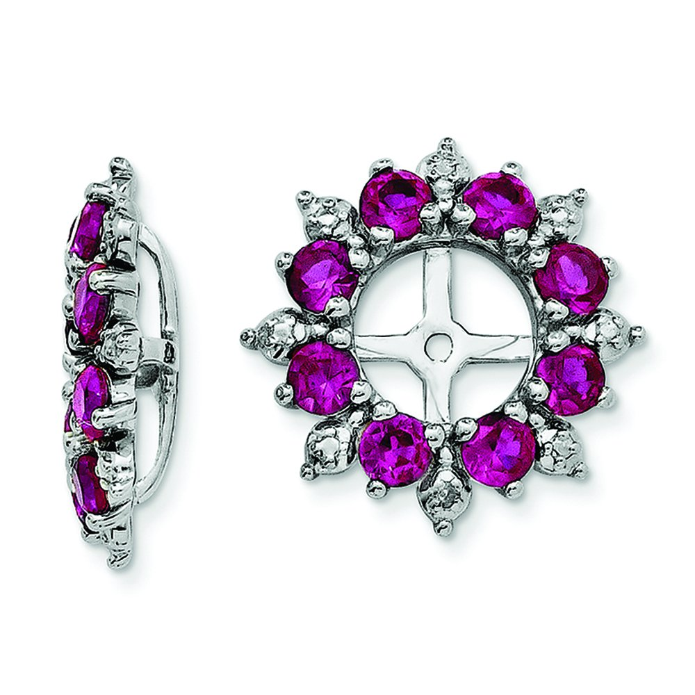 .925 Sterling Silver Genuine Diamond /& Created Ruby Earring Jackets 0.01 CTTW, I-J Color, I2 Clarity