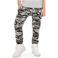 Solvera Pantalones de jogging para niño con cintura elástica y bolsillos militares.
