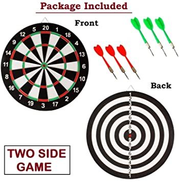 Supreme Deals Latest Wooden 17 inch Double Faced Flock Printing Thickening Tournament Bristle Dartboard Game Dart with 6 Needle (17 x 17-inch)