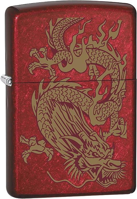 Zippo Lighter: Golden Dragon - Candy Apple Red 79095