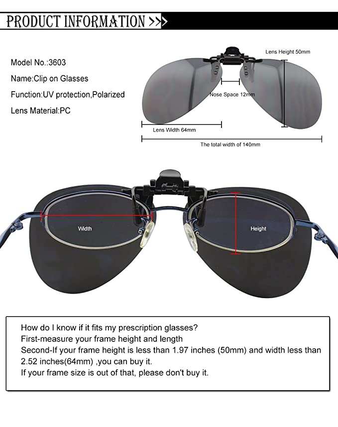 Duco Polarized Clip-on Sunglasses Flip-up Eyewear- Aviator Style ...
