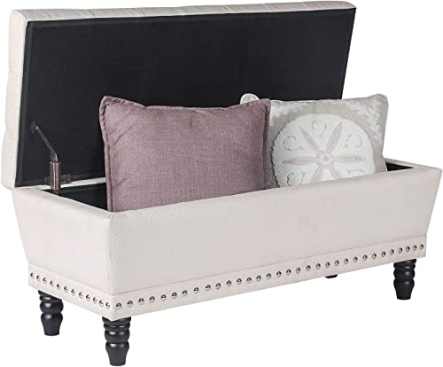 Homebeez Storage Ottoman Bench Tufted Foot Rest Stool