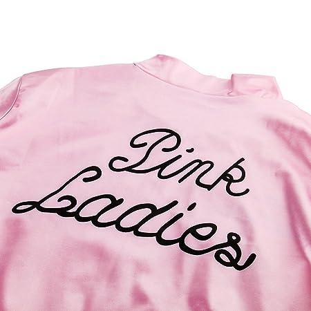 Nofonda Grease Chaqueta de Pink satén Disfraz de Lady Danny con pañuelo de Lunares Cazadora para Mujer Disfraces de 1950s Ladies para Carnavales ...