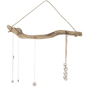 MyGift Handmade 7-Hook Natural Driftwood Branch Wall Hanging Necklace Jewelry Storage Organizer