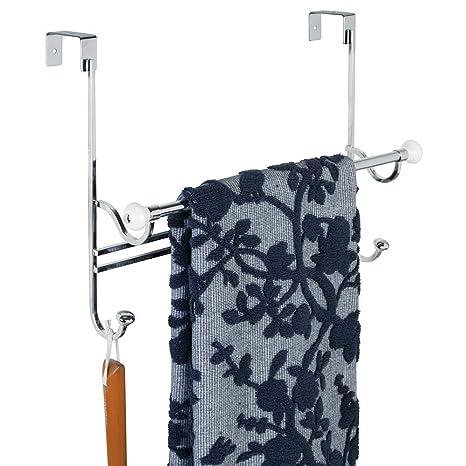 MDesign Bathroom Over Shower Door Towel Bar Rack With Hooks   White/Chrome