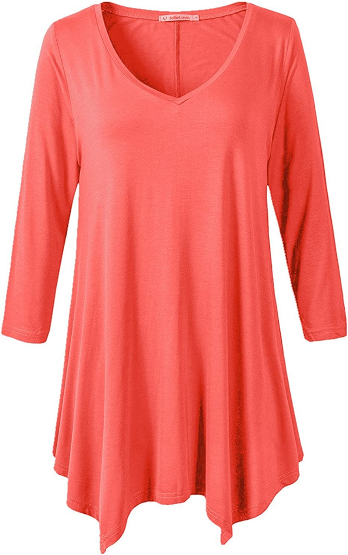 JollieLovin Womens Plus Size 3/4 Sleeve V Neck Flowy T Shirt Casual Swing Tunic Top