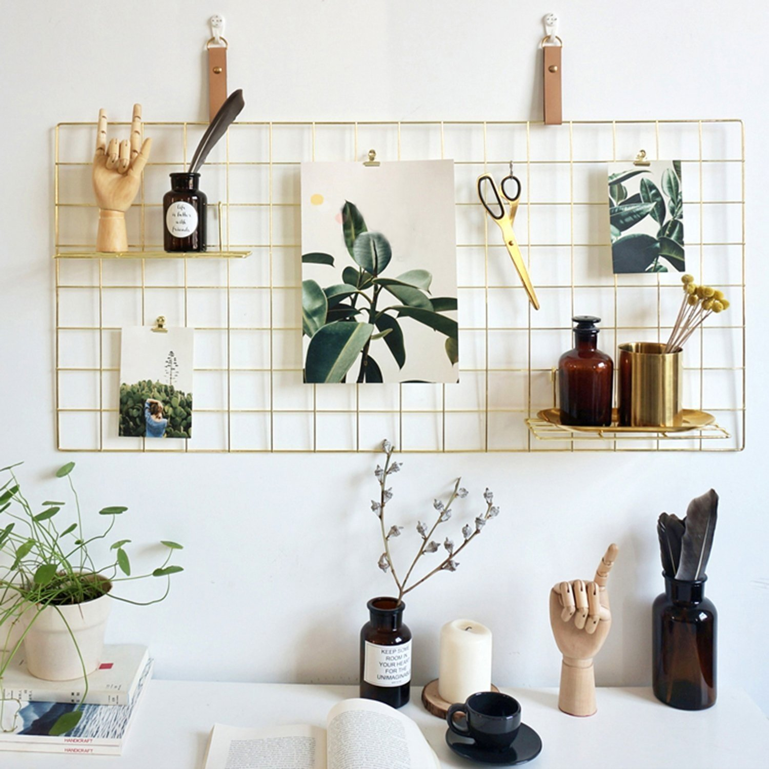 Rumcent Multifunction Metal Mesh Grid Panel,Wall Decor/Photo Wall/Wall Art Display & Organizer,Decorative Rack Clip Photograph Wall Hanging Picture wall,Size: 17.7