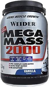 Weider Mega Mass 2000 Sabor Vainilla (1500 g). 67% de hidratos y 16% proteínas. Enriquecido con Vitaminas y Minerales. Con menos azúcares