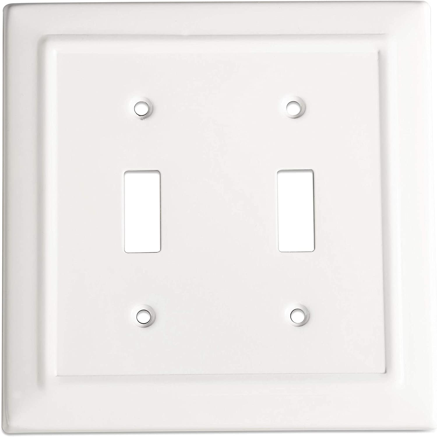 Monarch Abode 19052 Architectural Double Wall Switch Plate, 2-Gang, Classic White