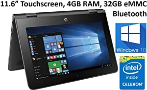 HP X360 11.6-Inch Touchscreen 2-in-1 Convertible Premium HD Laptop (Intel celeron N3060, 4GB RAM, 32GB eMMC, Windows 10)