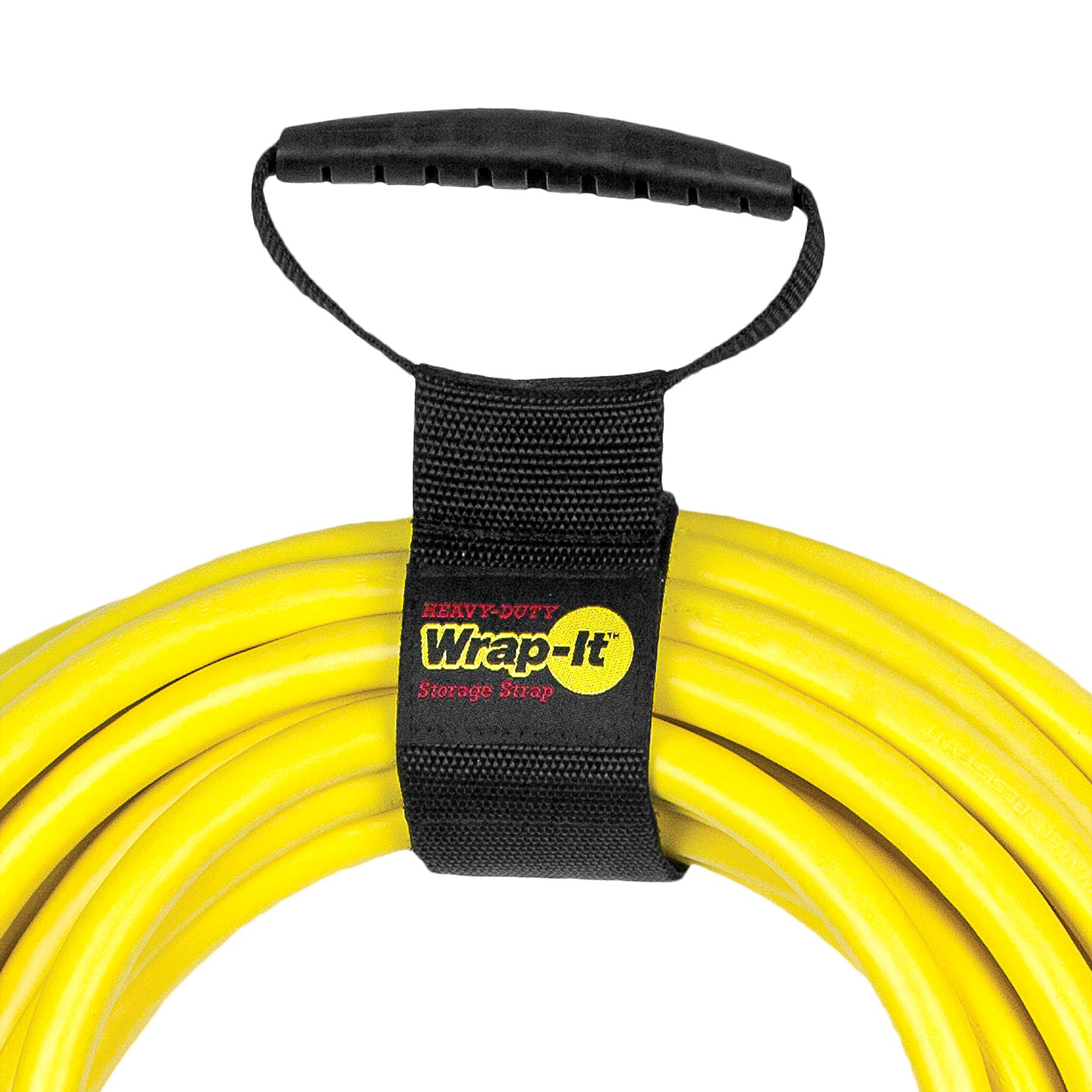 Easy-Carry Wrap-It Storage Straps - 17'' (2 Pack) - Heavy-Duty Hook and Loop Cord Carrying Strap, Hanger, and Organizer with Handle for Extension Cords, Electric Cables, Hoses and More