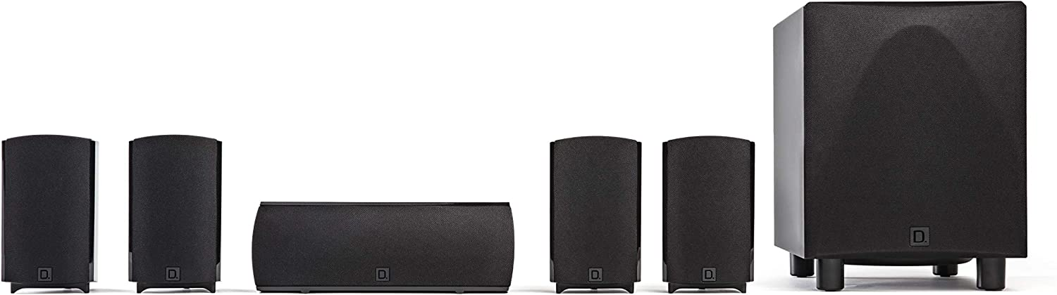 Definitive Technology ProCinema 6D - Compact 5.1 Channel Home Theater Speaker System (2019 Model) | 250-Watt Powered Subwoofer, Center Channel + 4 Speakers | Sleek, Modern Looks Match Any Décor, Black