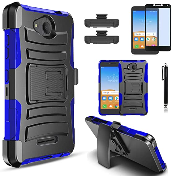 Alcatel Tetra 5041C Case, with [HD Tempered Glass Screen Protector]  Circlemalls Heavy Duty Drop Protection Combo Holster Rugged Belt Clip Phone  Cover