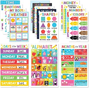 16 Educational Posters for Classroom Decor & Kindergarten Homeschool Supplies Baby to 3rd Grade Kids, Laminated PreK Learning Chart Materials – US & World Map, ABC Alphabet, Shapes, Days of The Week