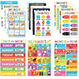 16 Educational Posters for Classroom Decor & Kindergarten Homeschool Supplies Baby to 3rd Grade Kids, Laminated PreK Learning