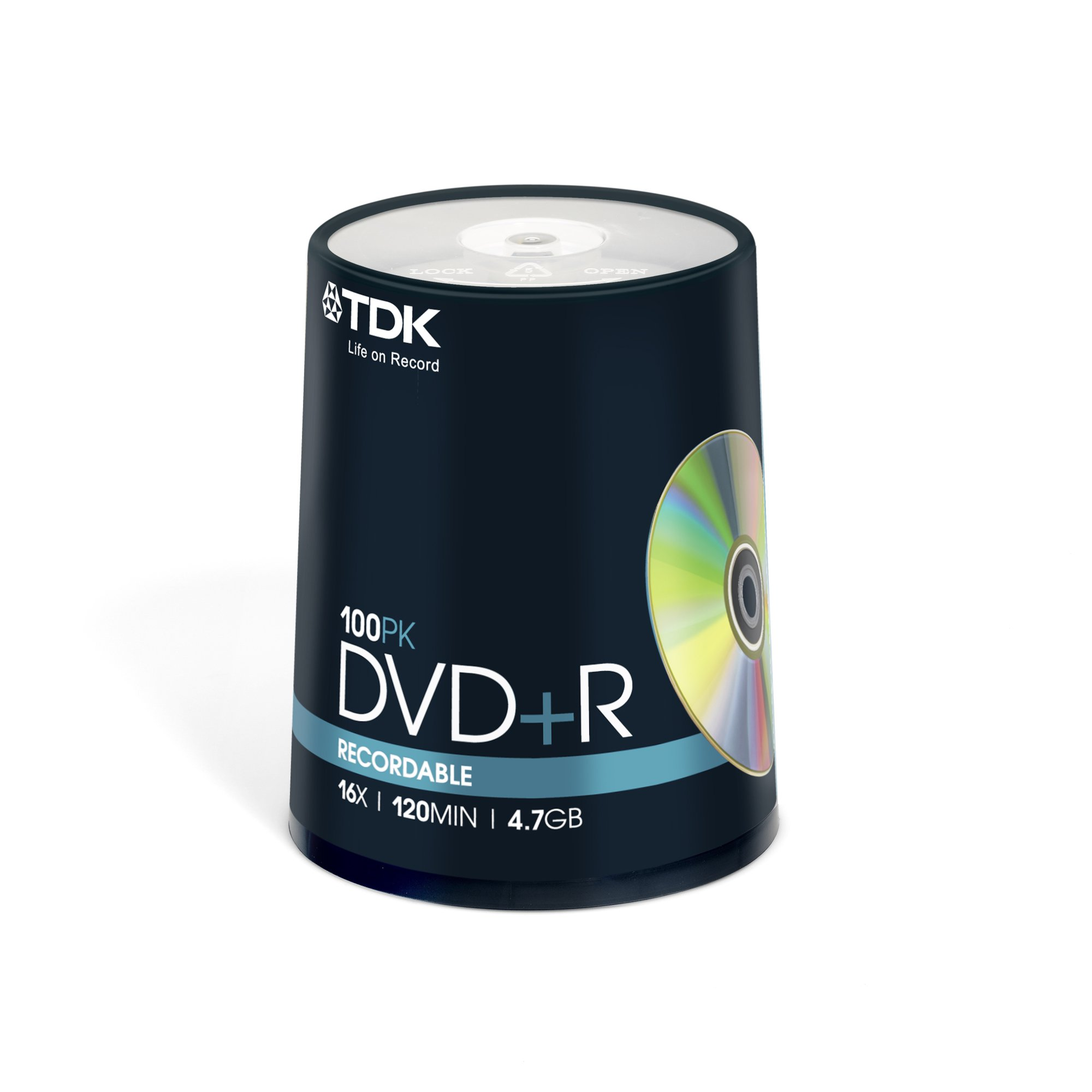 TDK DVD+R 4.7GB 16x Spindle 100 recordable tdk dvdr blank 16 x speed dvd