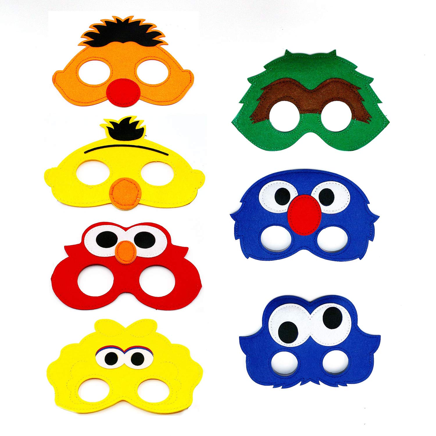 7pcs Sesame Street Cartoon Felt Masks Elmo Boys Girls Birthday Party Favors Supplies Dress-Up Cosplay (Sesame Street) by AIYANG