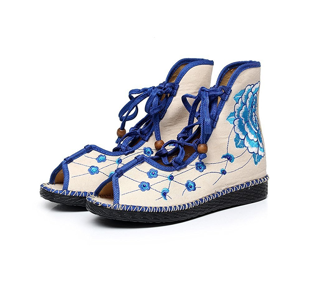 Kool Classic Women's Embroidery Open Toe Lace-up Gladiator Roman Flats Sandal B06XVQQTBD 37 M EU=7 B(M) US|Flower2 Blue