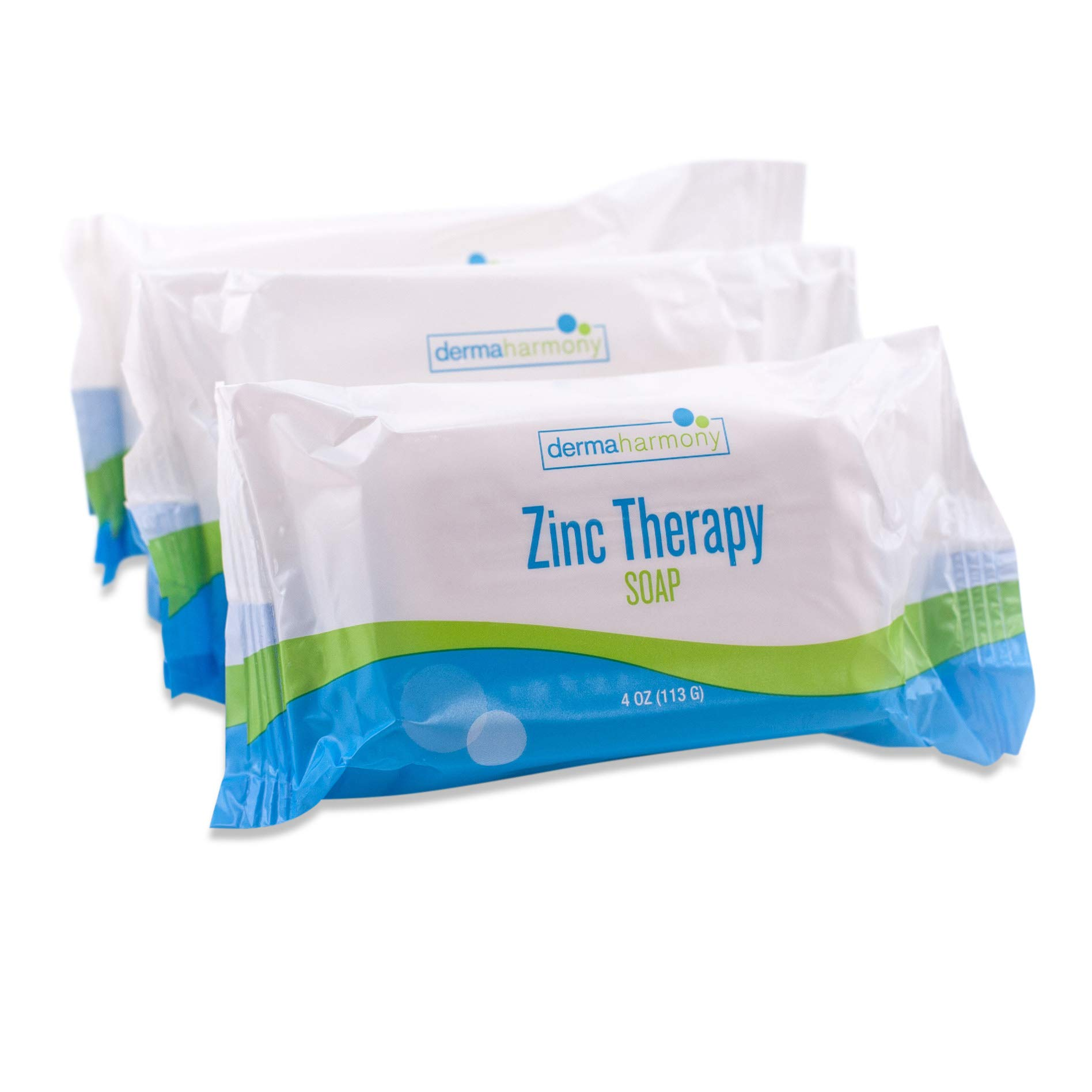 DermaHarmony Pyrithione Zinc (ZnP) Therapy Soap 4 oz Bars - 3 Pack - for Seborrhea and Dandruff by Dermaharmony