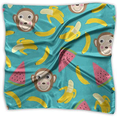 717d69c781c8f Amazon.com  Game Life Bananas And Monkeys Women Floral Printed Lady Square  Scarf Head Wrap Kerchief Neck Shawl  Clothing