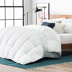 LUCID Alternative Comforter-Hypoallergenic-All Season-400 GSM-Ultra Soft and Cozy-8 Duvet Loops-Box Stitched-3 Year Warranty-Machine Washable-Oversized Queen-White
