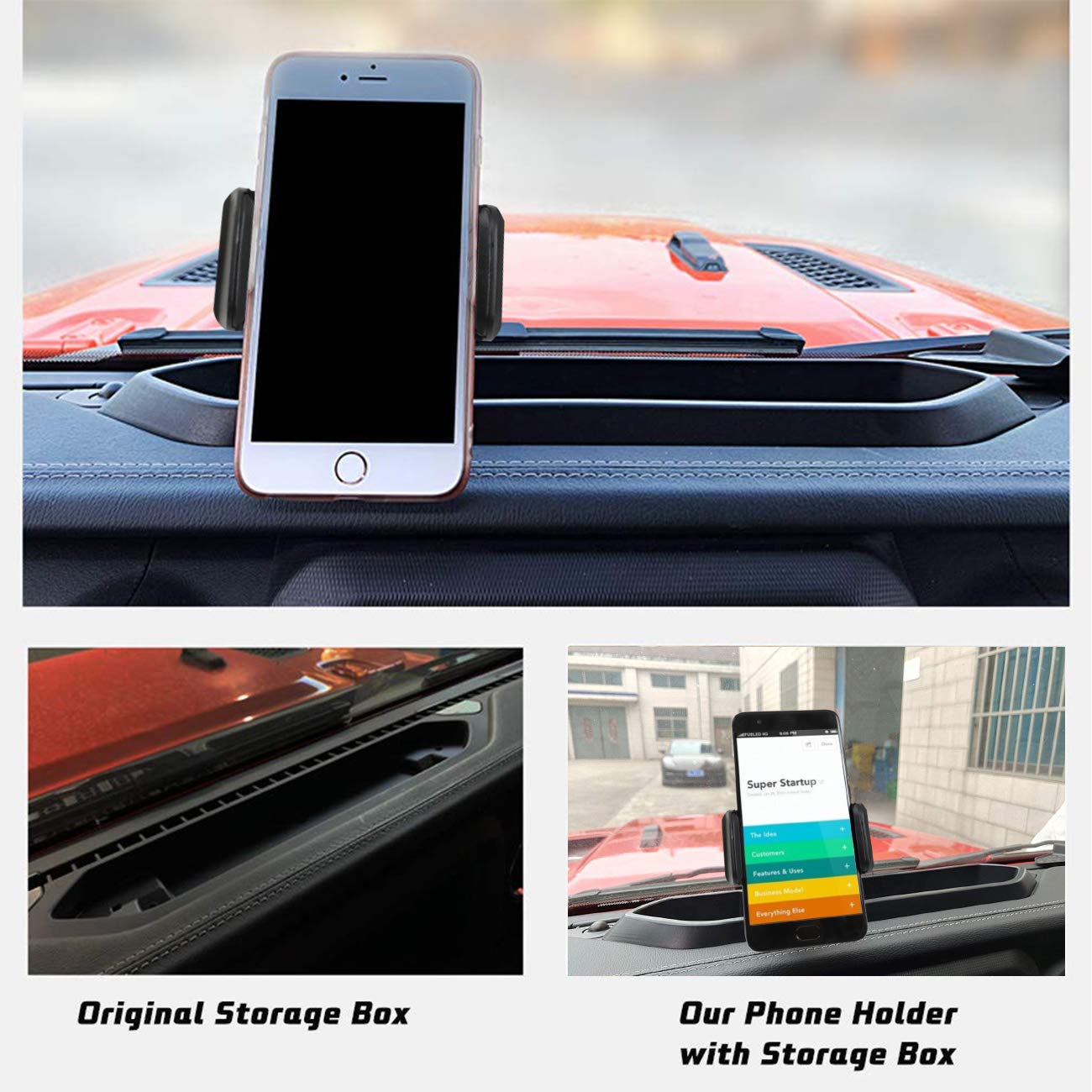 Multi-Mount Dash Phone Holder with Storage Box for Cell Phones and Mini Tablets Mount Stand Kit,Fits for Jeep Wrangler JL 2018 2019 by MFC
