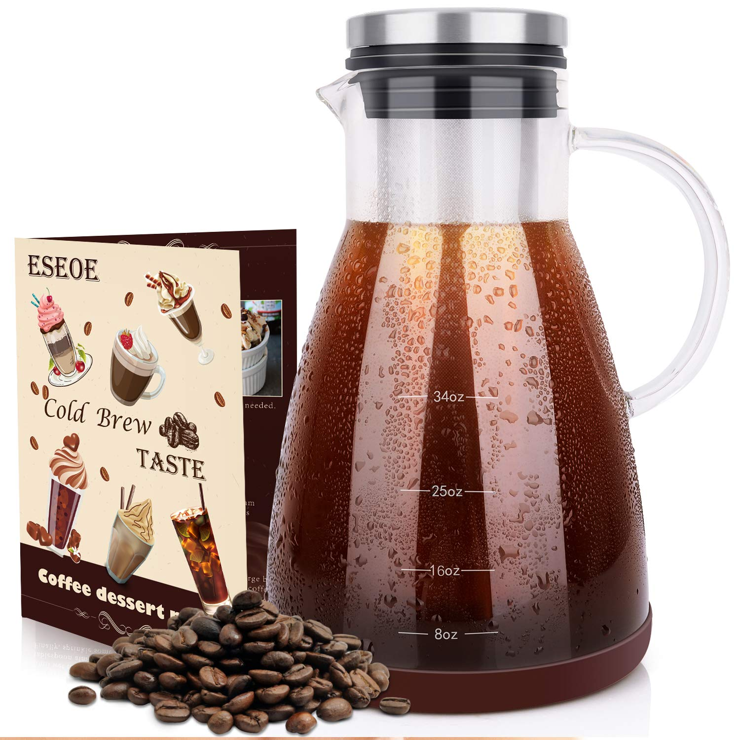 ESEOE Cold Brew Coffee Maker, Glass Pitcher Cold Brewer with Removable Filter - Perfect for DIY Brew Iced Coffee (Borosilicate Glass) by ESEOE
