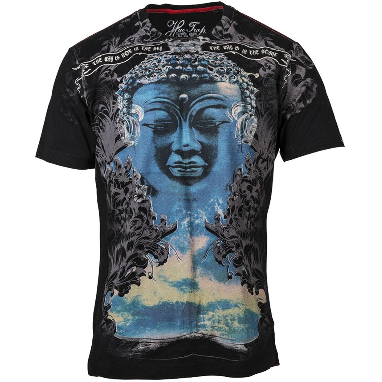 Black t shirt amazon - Huetrap Men S Blue Buddha Printed Black T Shirt Amazon In Clothing Accessories