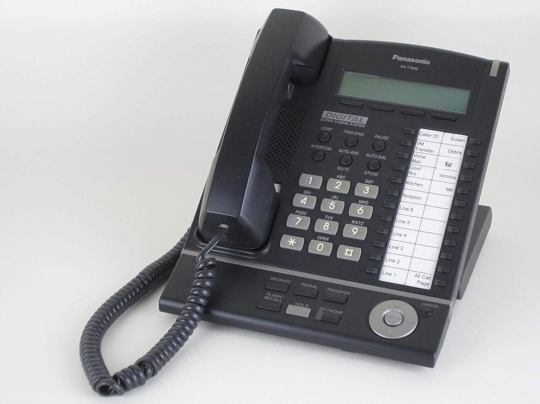 Panasonic KX-T7633-B Digital Telephone Black 3-Line LCD Proprietary Phone