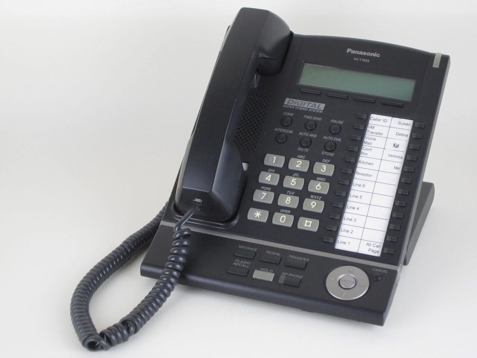 Panasonic KX-T7633-B Digital Telephone Black 3-Line LCD Proprietary Phone (Certified Refurbished)