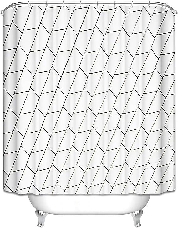 Ukilook Cortina de ducha con ganchos para baño, geometría ...
