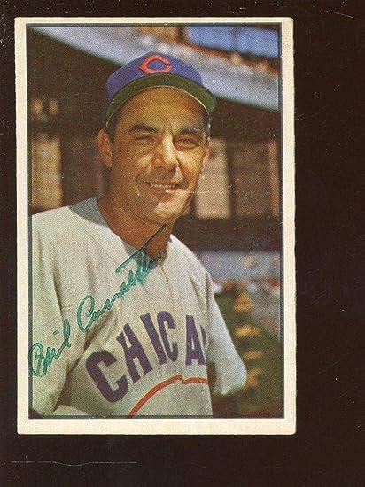 1953 Bowman Color Baseball Card 30 Phil Cavaretta Autographed Exmt