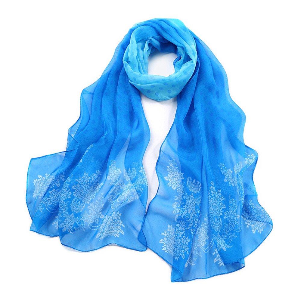 """WZTP 100% Seda Bufanda de Las Señoras Elegante Bufanda Larga Long Beach Bufandas 70 """"x 25,5"""" Moda Elegante Cuello Envolturas Para Las Mujeres Azul claro"""