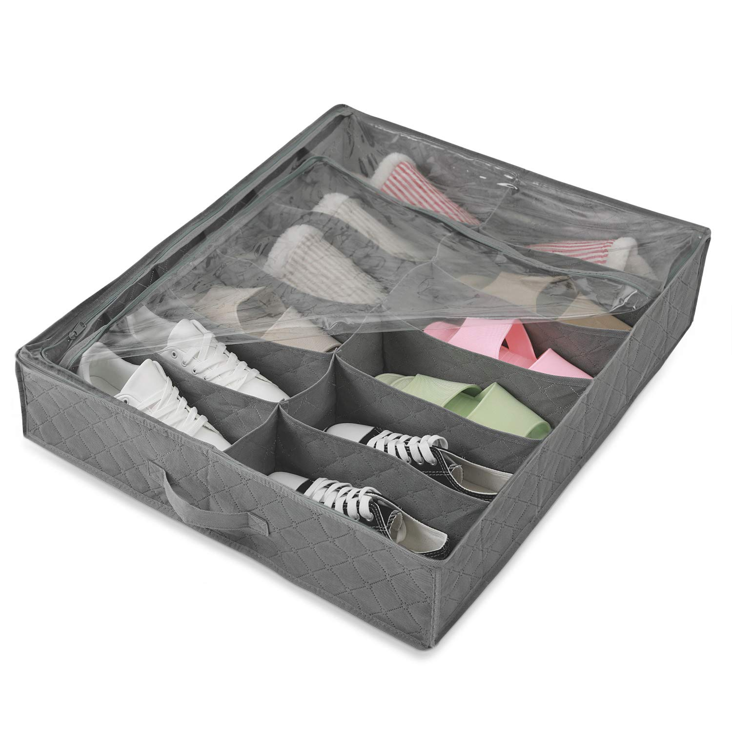 Magicfly Under Bed Shoes Organizer Storage Bag Underbed Shoes Closet Storage Solution with Clear Plastic Zippered Cover 12 Cell for Kids/Women