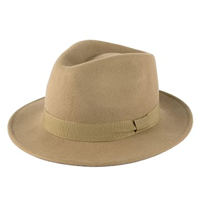 a090977d3f791a Men's Ladies Fedora Hat Plain Handmade - Fine Felt - Grosgrain Band - Beige  (59