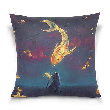 Gato y pescado funda de almohada para sala de estar sofá coche decorativo Cotton Linen manta