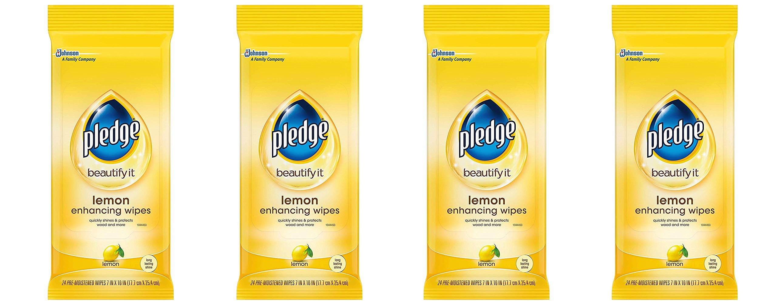 Pledge Lemon Enhancing Wipes - Conveniently Dust, Clean and Shine Wood, Stainless Steel and More (1 Pack), 24 ct (Fоur Paсk, Lemon)