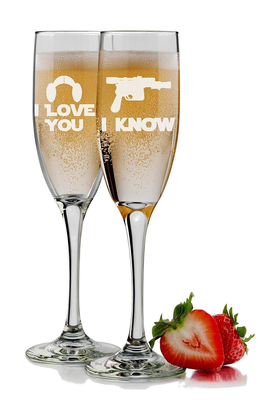Amazon.com | Mr and Mrs Champagne Wedding Glasses, Star Wars ...