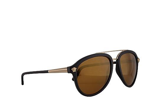 27c08666380 Versace VE4341 Sunglasses Matte Black w Brown Mirror Gold Lens 58mm 51226H  VE 4341  Amazon.co.uk  Clothing