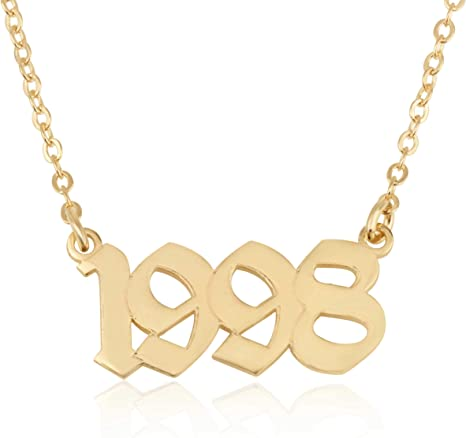 Rocky Mountain Gold Birth Year Necklace  stainless steel Birthday necklace  Custom Year necklace  Birthday Gift necklace  Gift for her