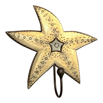 Amazon.com: Hand Carved Starfish Single Hook Hanger Wood Burned ...